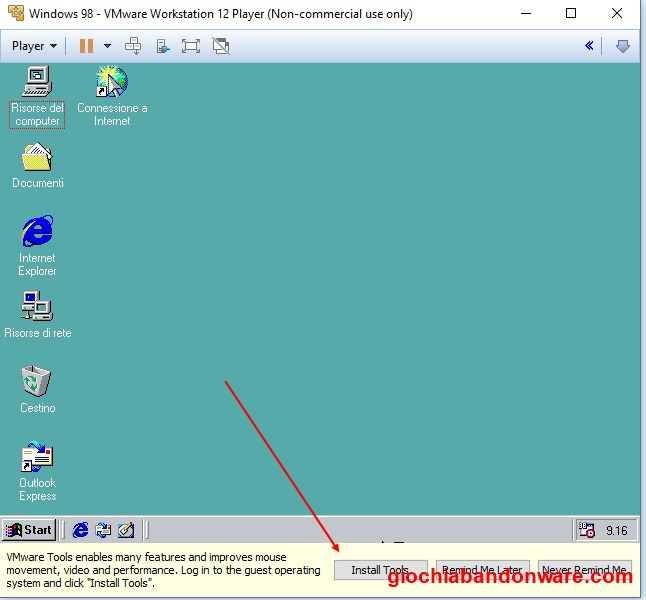 Come installare Windows 98 in VMWare Workstation Player